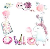 Frame from unicorn and girls pink things. Watercolor hand drawn illustration royalty free illustration