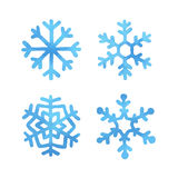 Set of watercolor snowflakes Royalty Free Stock Photos