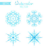 Set of watercolor snowflakes isolated on white background. Stock Image