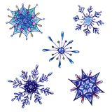 Set of watercolor snowflakes isolated on white royalty free stock photo