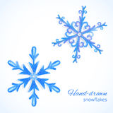 Set of watercolor snowflakes Royalty Free Stock Images