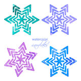 Set of watercolor snowflakes Royalty Free Stock Photography