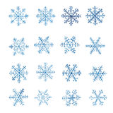 Set of watercolor snowflakes Royalty Free Stock Photo