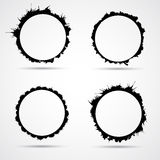Set of watercolor splashes, black circles shapes, Royalty Free Stock Photo