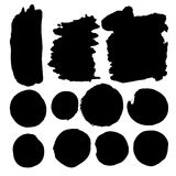 Set of watercolor spots in black Ink Stock Images