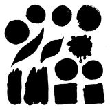 Set of watercolor spots in black Ink Stock Image