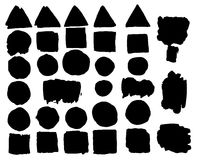 Set of watercolor spots in black Ink Royalty Free Stock Photo