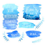 Set of watercolor spots and floral design elements Stock Image