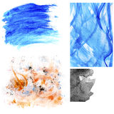Set of watercolor stains and brush strokes. Colorful watercolor stains and brush strokes isolated on white. Useful as design elements Stock Photos