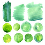 Set of watercolor stains of greenery color. Royalty Free Stock Photography