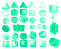 Set of watercolor stains of greenery color. Royalty Free Stock Images
