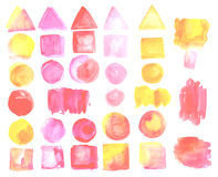 Set of watercolor stains of pink, yellow color. Stock Image