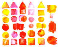 Set of watercolor stains of Red orange color. Royalty Free Stock Photo