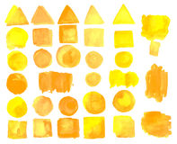 Set of watercolor stains of solar color. Royalty Free Stock Photo