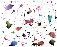 Set of watercolor stains on white background Stock Photos