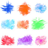 Set of watercolor stains on white background Stock Image