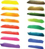 Set of watercolor stripes in vibrant colors. Stock Photography