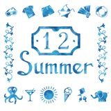 Set of watercolor summer icons Royalty Free Stock Photos