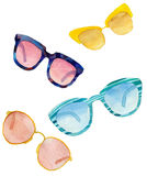 A set of watercolor sunglasses. On white background Stock Photos