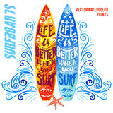 Set of watercolor surfboards Royalty Free Stock Photos