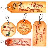 Set of 5 watercolor tag cards for Thanksgiving design vector illustration