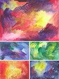 Set of watercolor textures with splashes. Set of watercolor textures. Bright backgrounds for design Royalty Free Stock Image