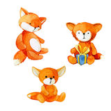 Set of watercolor toy foxes Stock Photos