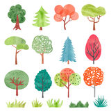 Set of watercolor trees. Colorful tree and grass symbols for your design. Vector illustration vector illustration