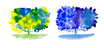 Set of watercolor trees Royalty Free Stock Photo