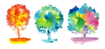 Set of watercolor trees Stock Photography