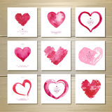 Set of watercolor valentine love hearts. Set of artistic watercolor valentine love hearts royalty free illustration