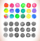 Set of watercolor vector circles. Watercolor design elements isolated on white background Vector Illustration