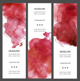 Set of watercolor vertical banners with blot, drop, isolated on white background. Sample text. Hand drawn cards, tickets. Flyers, flysheets. Red and vinous Royalty Free Stock Images