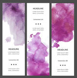 Set of watercolor vertical banners with blot, drop, isolated on white background. Sample text. Hand drawn cards, tickets Stock Images