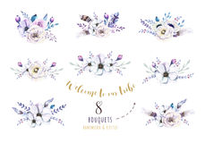 Set of watercolor vintage floral bouquets, bird with feather. Bo vector illustration