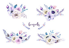 Set of watercolor vintage floral bouquets with feather. Boho spring flower and leaf frame isolated on white background. Bohemian. Spring rose stock illustration