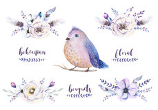 Set of watercolor vintage floral bouquets with feather. Boho spring flower and leaf frame isolated on white background. Bohemian. Spring rose royalty free illustration