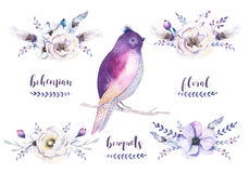 Set of watercolor vintage floral bouquets with feather. Boho spring flower and leaf frame isolated on white background. Bohemian. Spring rose vector illustration