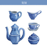 Set of watercolor ware. Teapot, cup, milk seller, sugar bowl. Vector Stock Image
