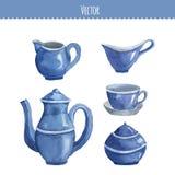 Set of watercolor ware. Teapot, cup, milk seller, sugar bowl. Stock Image