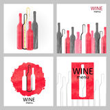 Set of watercolor wine backgrounds in red and black Royalty Free Stock Photos