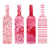 Set of watercolor wine bottles Royalty Free Stock Photos