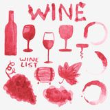 Set of watercolor wine stuff on the white Stock Photo