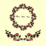 Set of watercolor wreath and borders,vintage style invitation sample Stock Photography