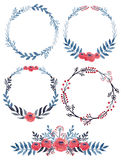 Set Of Watercolor Wreath and Bouquet with Red Flowers Royalty Free Stock Photos