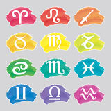 Set of watercolor Zodiac signs Royalty Free Stock Photography