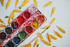 Set of watercolors mixed stock image