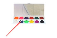 Set of watercolour in the  box Royalty Free Stock Image