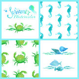 Set of watercolour marine seamless patterns, page decorations and dividers. Royalty Free Stock Photo