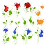 Set watercolour motyle i kwiaty Obraz Royalty Free